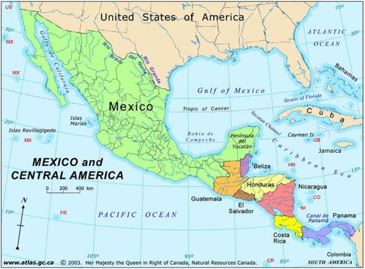karta centralamerika Karta över Mexiko och centralamerika   Karta Mexiko och  karta centralamerika